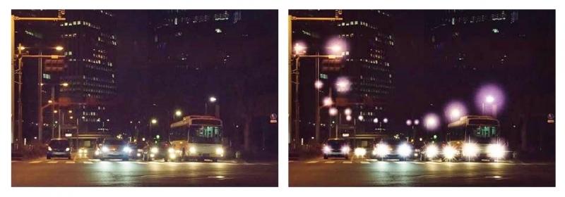 単焦点眼内レンズと多焦点眼内レンズの見え方の違い(クリックで拡大)